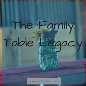But Come to the Family Table by Ted and Amy Cunningham introduced me to the idea that I could actually be serving my family and my community by approaching the family table as a service opportunity.